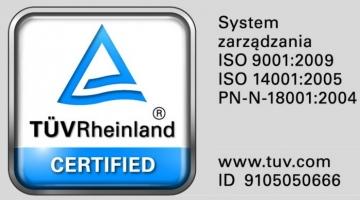 Certyfikat TÜV Zintegrowanego Systemu Zarządzania