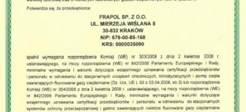 Certyfikat FGAZ dla Frapol